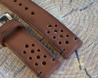 Thick Rally racing tapered Tan cowhide leather watch strap/ mens brown wrist watch band/19mm 20mm 21mm 22mm 24mm