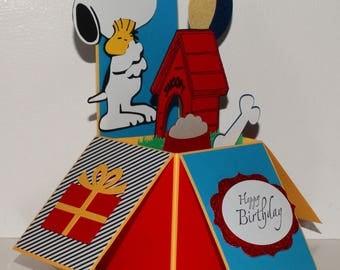 Snoopy Happy Birthday handmade 3D pop up greeting card, yellow