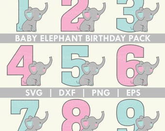 Elephant Birthday Pack SVG DXF Silhouette Cameo Cricut Cut File
