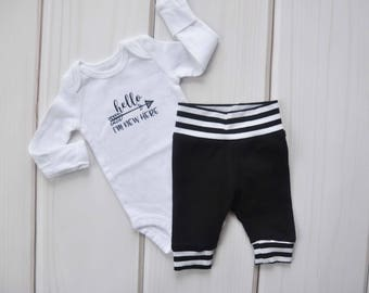 Monochrome Coming Home Set, Black & White Baby Clothes, Baby Boy Gift, Baby Leggings, Newborn Pants, Hospital Outfit, Gender Neutral