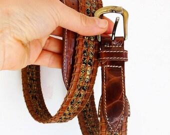 Best mens gift belt genuine leather belt men brown gold belt woven braided leather belt brown leather belt with bronze buckle vintage 90s