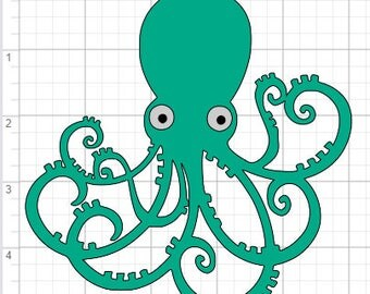 Cute Octopus Design SVG PDF EPS Dxf & Studio 3 Cut Files