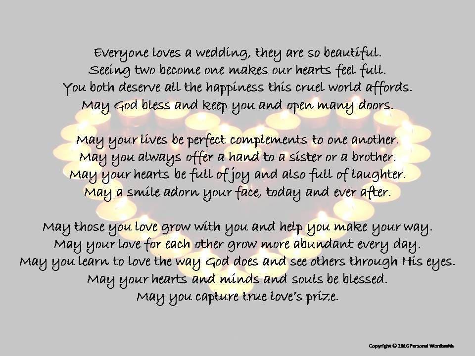 Wedding Poem Blessing Toast Digital Print Printable Marriage
