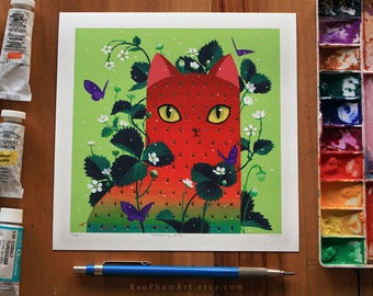 Strawpurry Kitty - Limited Edition Print