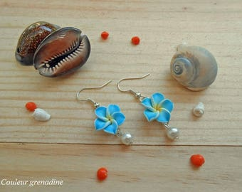 Blue tiare flower and Pearl, gift earrings mother of grand mothers, Easter