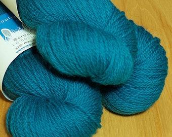 Teal Border Leicester yarn  in DK.