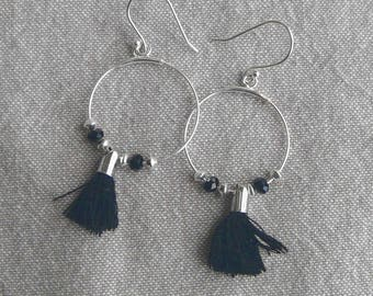 "Silver earrings ""Black tassel earrings"""