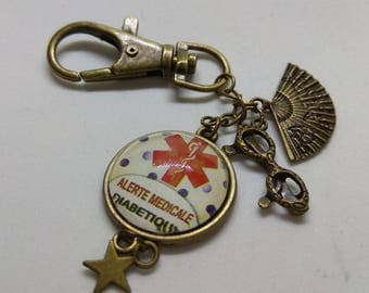 key with diabetic medical alert cabochon