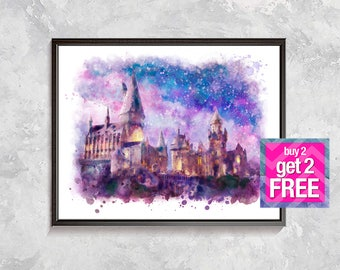 Harry Potter Hogwarts Castle Print, Hogwarts Castle Watercolor, Hogwarts Harry Potter Poster, Hogwarts Art, Harry Potter Party Decor, Gift