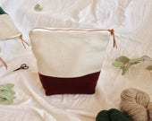 BURGUNDY (medium) - Knitting project bag / Zipper project bag / Zipper pouch / Project bag / Project bag for knitting