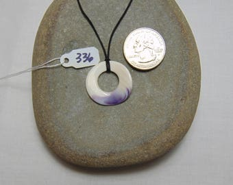 Cape Cod Wampum Quahog Shell Pendant Necklace (336)