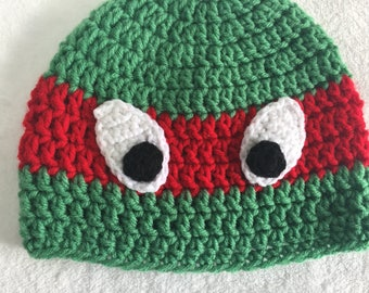 Raphael ninja turtle beanie winter hat TMNT