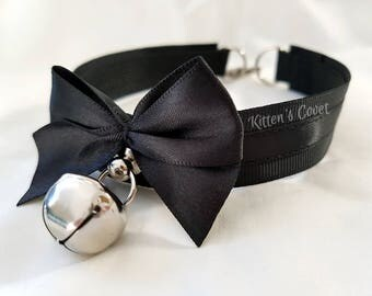 The Erin Collar [Made to Order] Unpleated/Non Pleated Black Skinny Kitten Play/Pet Play Collar
