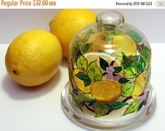 ON SALE Lemon holder Butter server Glass cloche Kitchen container Italian style tray