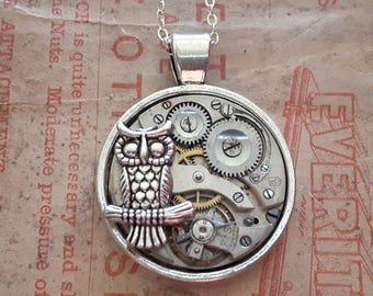 Owl Vintage Watch Movement Pendant