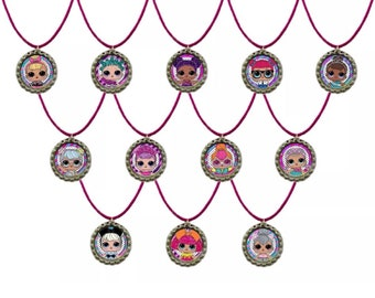 12x LOL Surprise birthday party favor keychains