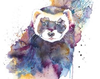 Polecat Original Painting Original Watercolour polecat painting animal art polecat ferret painting ferret art Home décor art polecat picture