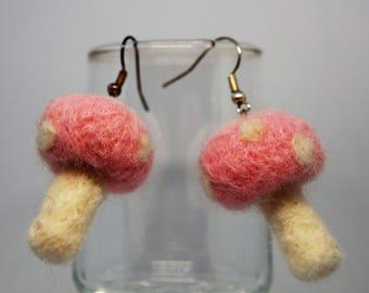 Patel Pink Needle Felted Toadstool Earrings
