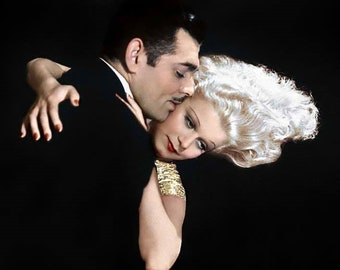 Jean Harlow and Clark Gable in a studio photo from the 1930's