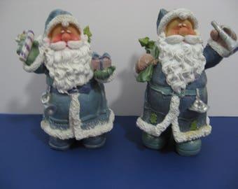"""2 - Blue 8""""Santa Claus Figurines"""
