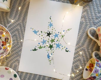 A4 Winter Star - original watercolour painting. Not a print.
