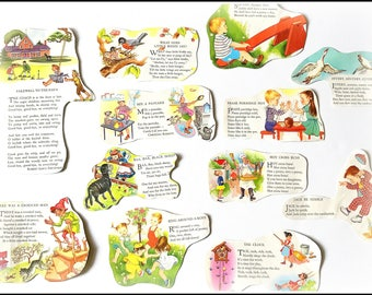 Nursery Rhyme Illustrations - Vintage Story Book Cut Outs - Vintage Children's Illustrations Cut-outs