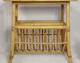 Vintage Mid Century Bamboo Rattan Magazine Rack Side Table
