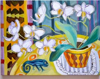 Blue chameleon Oil texture painting Still life oil painting Orchid oil painting Flowers oil painting Original painting on canvas Artwork oil