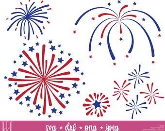 5 Fireworks svg - Firework svg - Firework Cut File - 4th of July svg - Independence Day svg - SVG Files