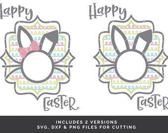 2 Easter Monogram svg - Easter Shirt svg - Bunny Monogram svg - Easter Frame svg - Circle Monogram svg - Easter Cut File - Easter Rabbit svg