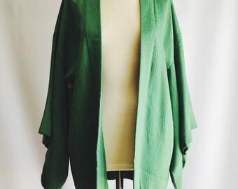 Green Vintage Japanese kimono with relief