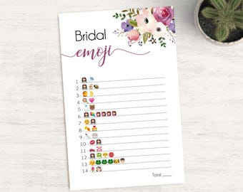 Bridal Shower Game Emoji Pictionary, Bridal Shower Game, Bridal Shower Printable, Instant Digital Download, Lavender Purple Flower
