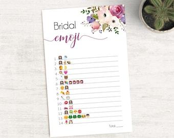 Bridal Shower Game Emoji Pictionary, Bridal Shower Game, Bridal Shower Printable, Instant Digital Download, Lavender Purple Flower
