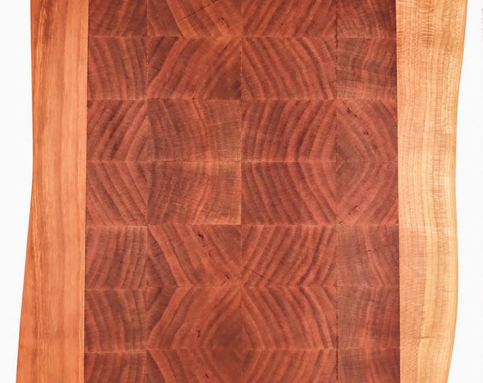 Cherry Wooden End Grain and Live Edge Chopping / Cutting Board - Perfect for  Bar or Kitchen