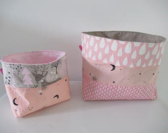 To order: set of 2 baskets / storage baskets personalized baby name empty Pocket