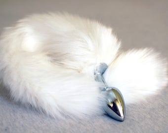 Tail Butt Plug / White Fox Tail / Anal Sex Toy / Anal Plug / Fur Tail / Faux Fur / Fox Butt Plug Tail / Furry / Mature / Fast Shipping
