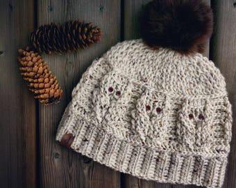 CROCHET PATTERN: Owl Love Hat/Crochet Hat/Crochet Beanie/Owls/Crochet Cables/Crochet/Hat/Beanie/Pattern/Owl Hat/Owl Pattern/Owl Beanie