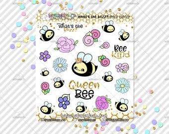 Handdrawn Kawaii Bee Mini Deco Sheet for your planner