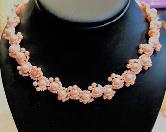 Bridal Pearl & Seed Bead Necklace, Intricate Detailing