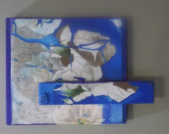 Painted, wooden collage