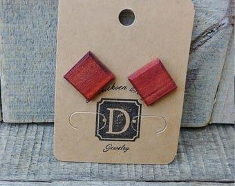 Square Stud Earrings, Wood Earrings, Red Heart Wood Studs