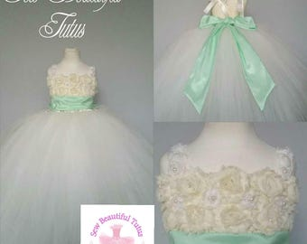 Ivory Flower Girl Tulle Dress with 3D roses/pearl detail and mint sash - Tulle - Formal - Wedding - Bridesmaid - 3D Flowers - Ball Gown