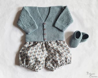 """Set 3 piece Cardigan bloomer """"Tulle"""" slippers"""