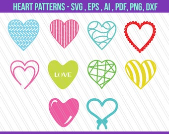 Heart SVG, Love svg, Valentine heart svg dxf cut files, Cricut silhouette, Screen Printing - svg,dxf,eps,ai,png,pdf - Digital Download