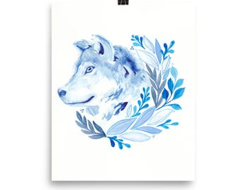Blue Wolf Watercolor Art Print *FREE SHIPPING*