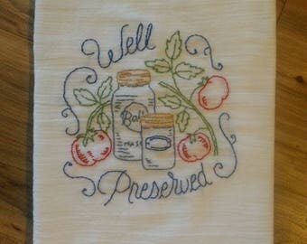New Handmade  Embroidery Mason Jar- Canning Jar- Tomato Farmhouse Style White Cotton FlourSack Kitchen Towel- Tea Towel
