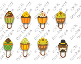 Digital Planner Clips, Autumn Cupcakes