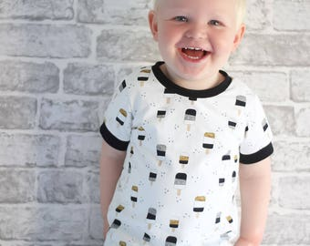 Organic Ice lolly T-shirt, boys tops, Baby Clothes, ice lolly print, boys t-shirts, JMW Kids-ice cream, boys clothes , Baby Boy, unisex tops
