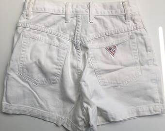 Womens vintage 80s 90s Guess Jeans USA white denim shorts size 29 george marciano made in the usa