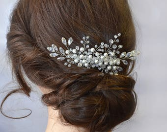 Wedding hair comb Bridal hair jewelry Crystal Bridal headpiece Bridal Pearl Crystal hair comb Pearl hair jewelry Bridal Wedding hair piece